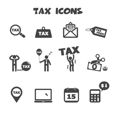 tax bills: tax icons symbols Illustration