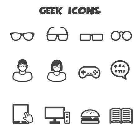 geek icons, mono vector symbols