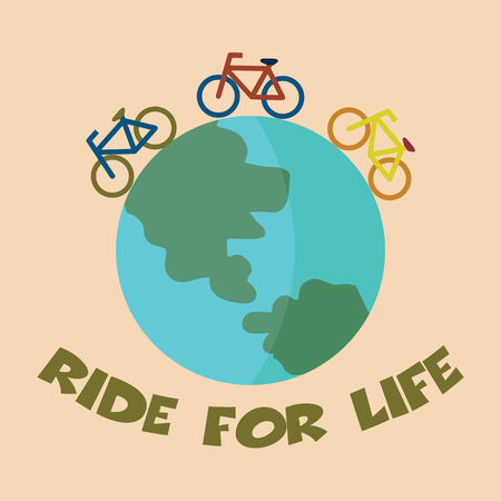 ride for life and go green, vector concept Vector