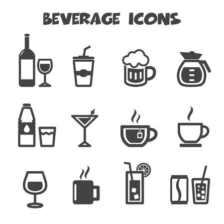 drunk party: beverage icons, mono vector symbols