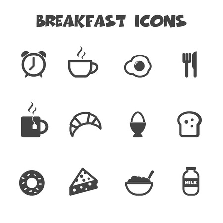 breakfast icons, mono vector symbols Vector