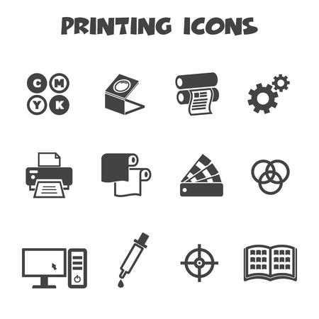 icone di stampa, simboli mono vettore