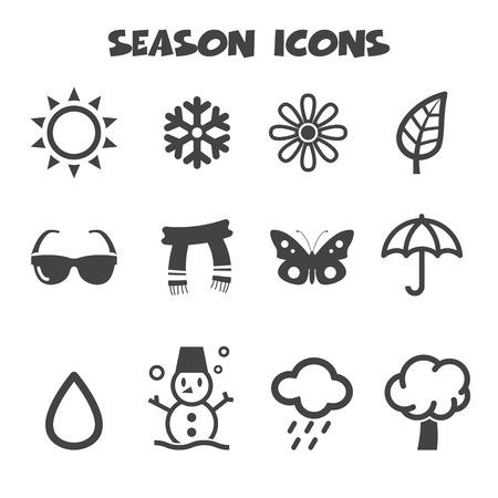 season icons, mono vector symbols Vector