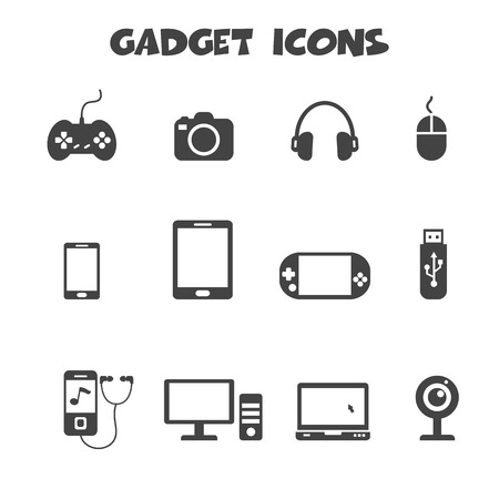 portable player: gadget icons, mono vector symbols Illustration