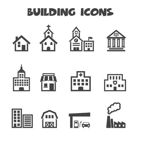 building icons, mono vector symbols Vector