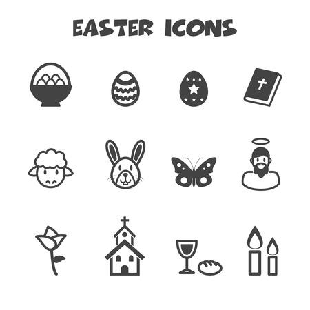 easter icons, mono vector symbols Vector