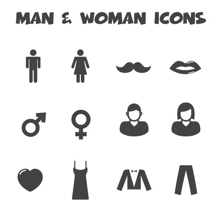 man and woman icons, mono vector symbols Vector
