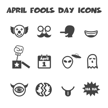 april fools day icons, mono vector symbols Vector