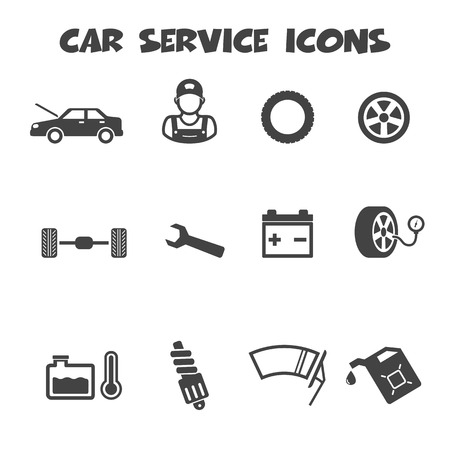 spinning wheel: car service icons, mono vector symbols