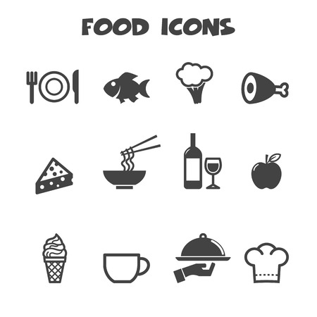 food icons, mono vector symbols Vector