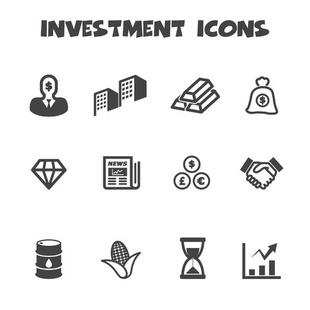 investment icons, mono vector symbols Vector