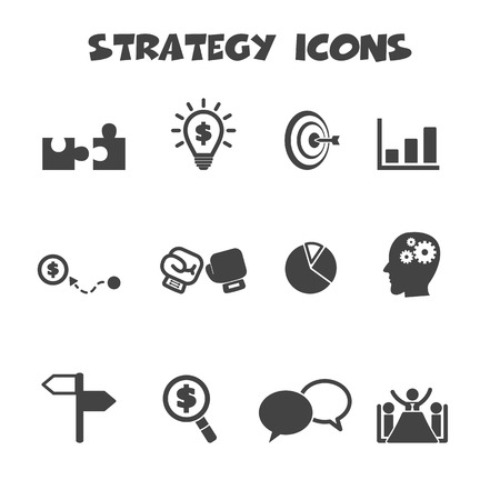 objectives: strategy icons, mono vector symbols