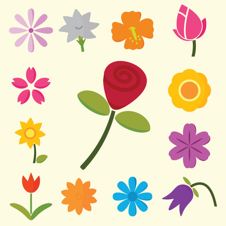 colorful flowers, vector symbols Vector