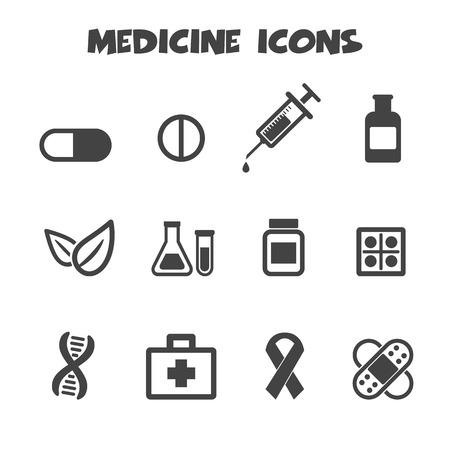 medicate: medicine icons, mono vector symbols