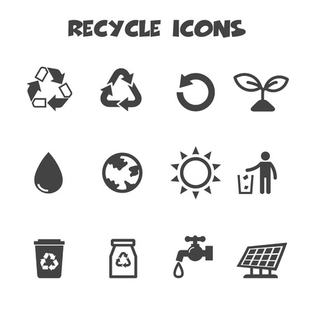 recycle icons, mono vector symbols Vector