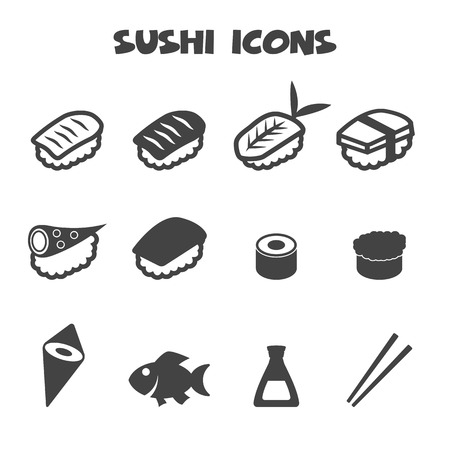 food on white: sushi icons, mono vector symbols