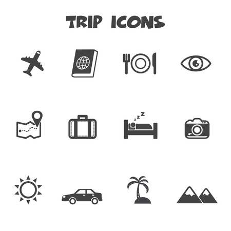 tour guide: trip icons, mono vector symbols