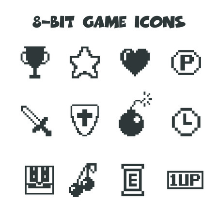 video games: 8-bit game icons, mono vector symbols Illustration