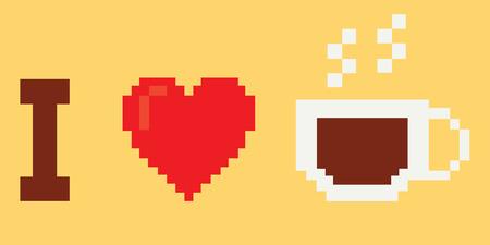 i love coffee, pixel art style Vector