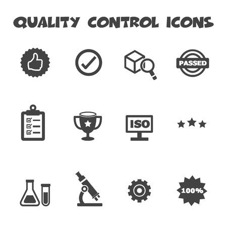 iso: quality control icons, mono vector symbols