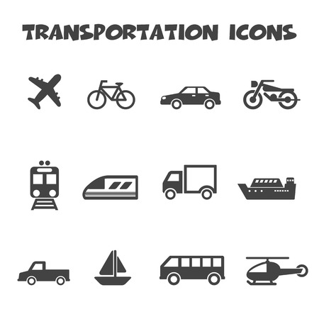 transportation icons, mono vector symbols Vector