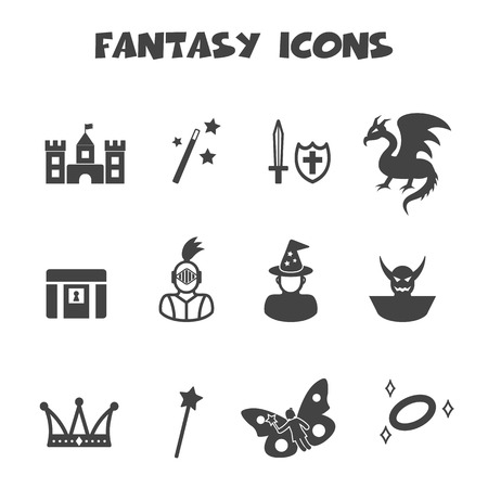 cartoon knight: fantasy icons, mono vector symbols