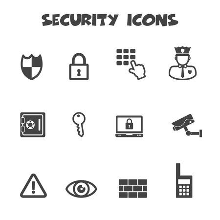guardia de seguridad: iconos de seguridad, símbolos mono vector