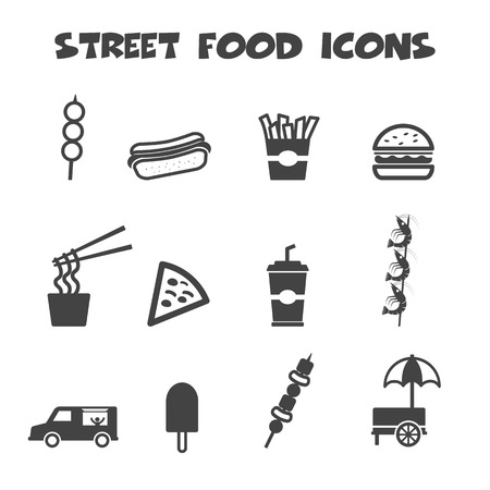 street vendor: street food icons, mono vector symbols Illustration