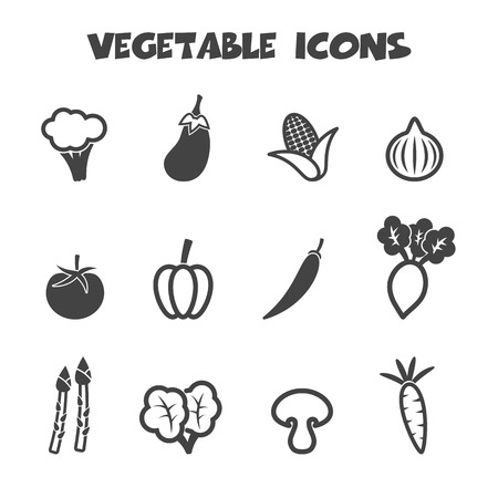 vegetables on white: vegetable icons, mono vector symbols