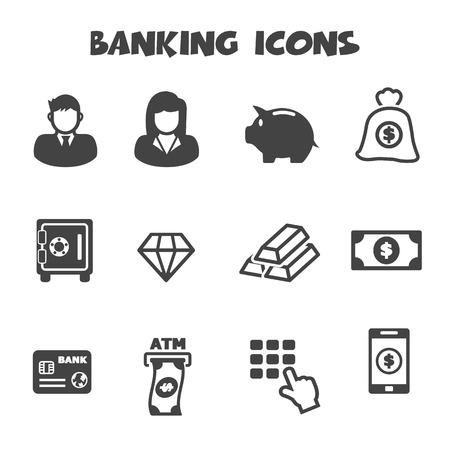 banking icons, mono vector symbols Vector