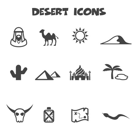 sahara desert: desert icons, mono vector symbols