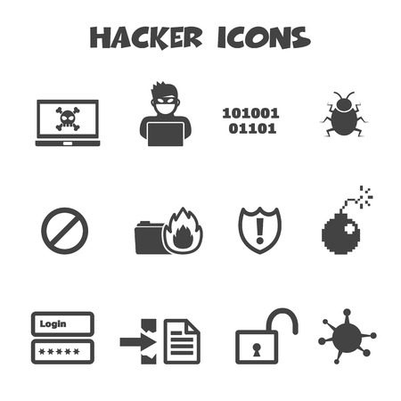 threat: hacker icons, mono vector symbols