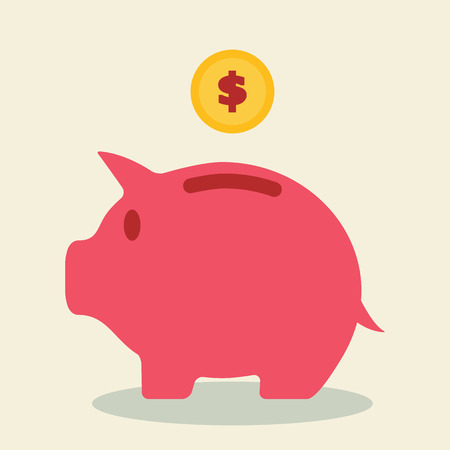 piggy bank and coin, saving concept Vector