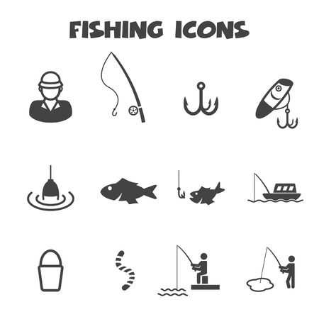 fishing catches: fishing icons, mono vector symbols