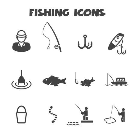 gusano: iconos, símbolos de pesca mono vector Vectores