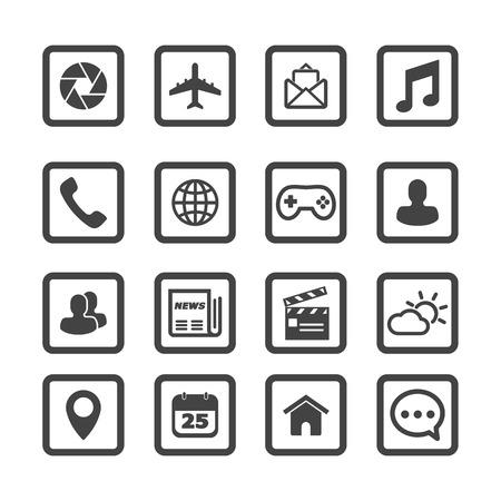mobile application icons, mono vector symbols Illustration