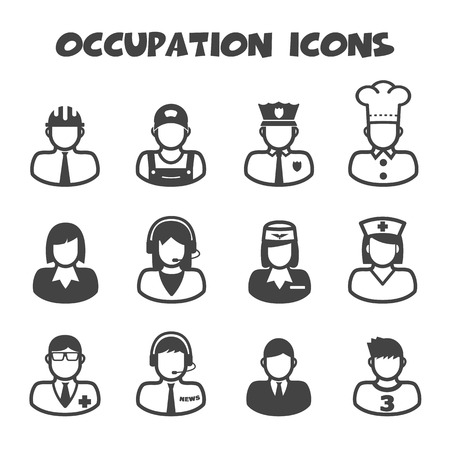 occupation icons, mono vector symbols Vector