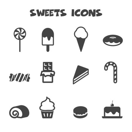sweets icons, mono vector symbols Vector