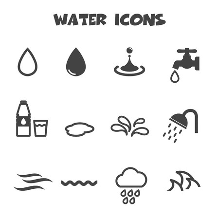 water droplets: water icons, mono vector symbols