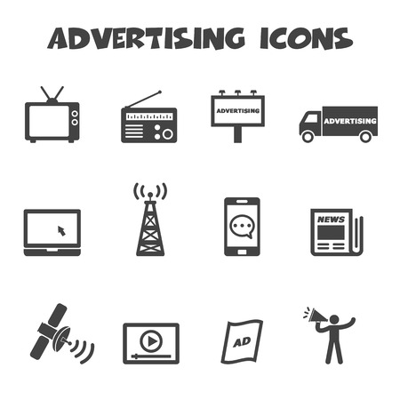 mobile advertising: advertising icons, mono symbols