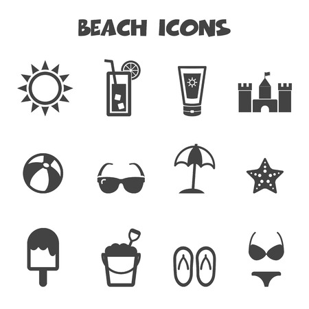 beach icons, mono symbols Vector