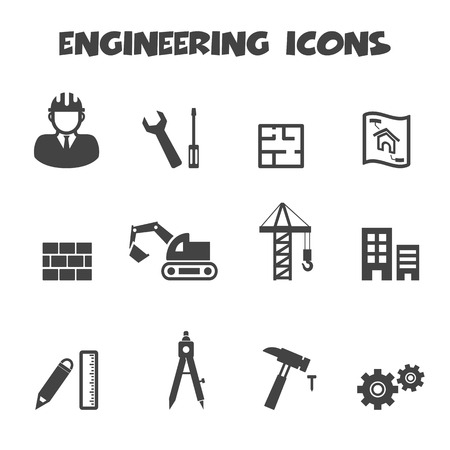 engineering icons, mono symbols Vector