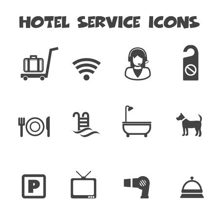 hotel service icons, mono symbols Vector