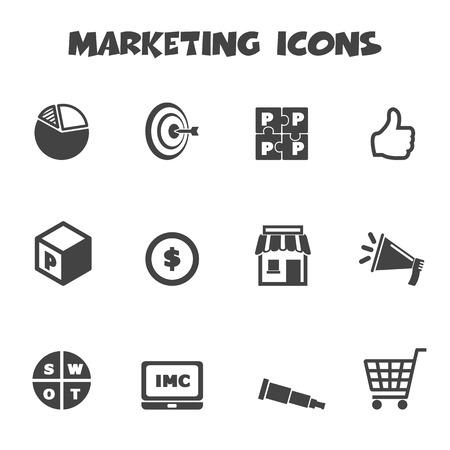 marketing icons, mono symbols Illustration