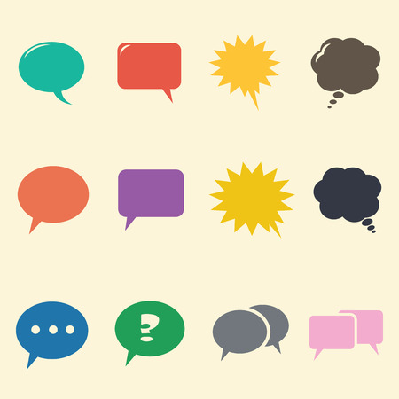 speech bubble icons, mono symbols Vector