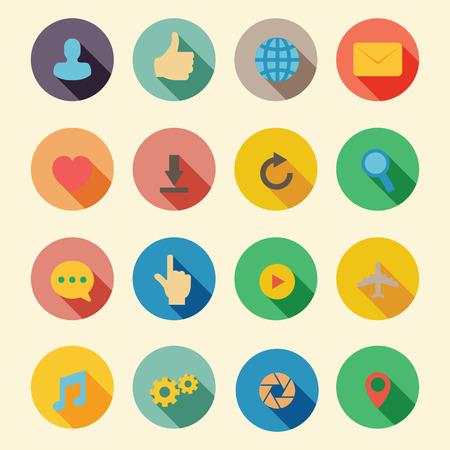web flat icons, symbols Vector