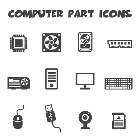 computer part icons, mono vector symbols Vector