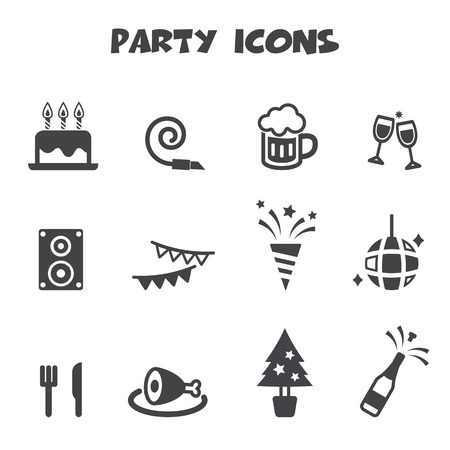 party pastries: party icons, mono vector symbols