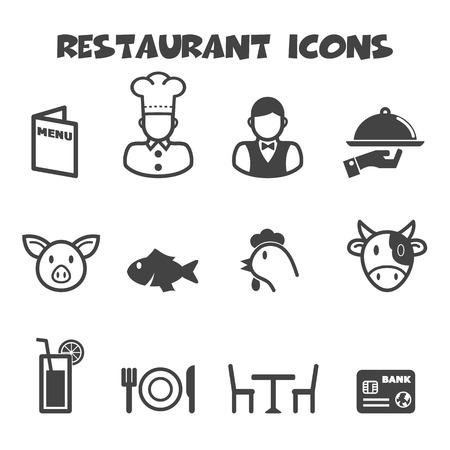 restaurant icons, mono vector symbols Vector
