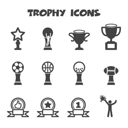 trophy icons, mono vector symbols Vector